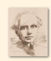 Béla Bartók, tekening van Jarko Aikens, 1984. Archief Heinz Wallisch