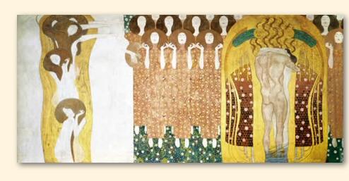 Beethovenfries: 'Diesen Kuss der ganzen Welt' door Gustav Klimt