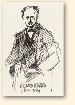 Richard Strauss, tekening van Jarko Aikens, 1984; archief Heinz Wallisch