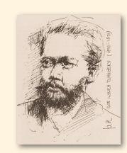 Pjotr Iljitsj Tsjajkovski, tekening van Jarko Aikens, 1985 (archief Heinz Wallisch)